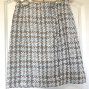 Etcetera Plaid Skirt with Side Button Detail